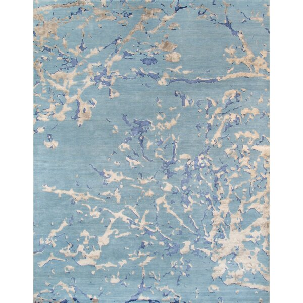 Modern Hand-Knotted Blue Area Rug by Pasargad