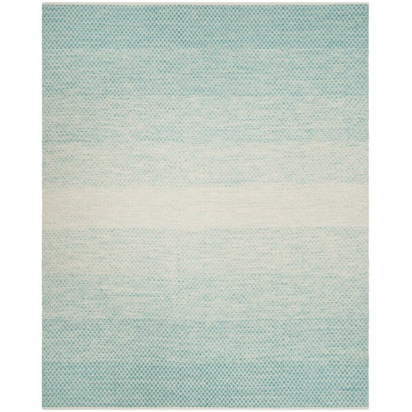 Saleem Hand-Woven Turquoise/Ivory Area Rug by Bungalow Rose