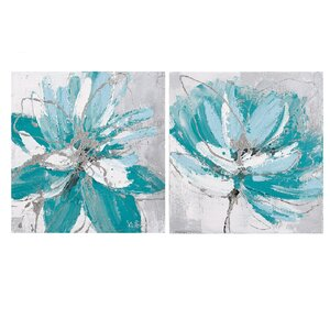 'Flower and Nature' 2 Piece Oil Painting Print Set on Canvas in Blue by La Kasa, LLC