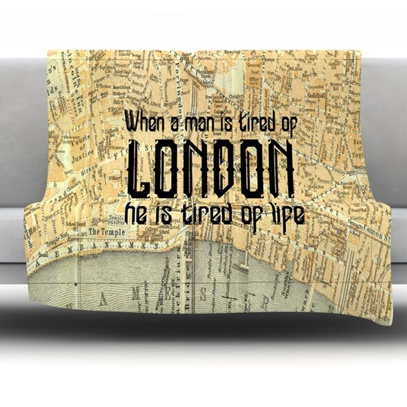 London Type by Alison Coxon Fleece Throw Blanket by East Urban Home