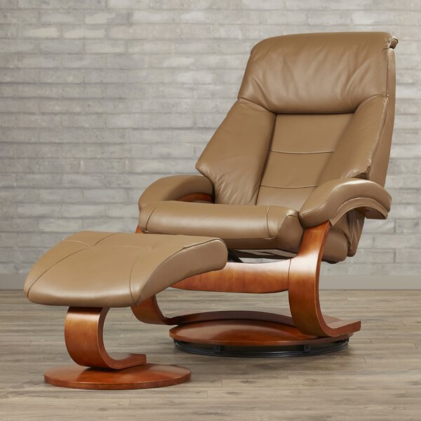 Flathead Lake Leather Manual Swivel Recliner With Ottoman [Red Barrel Studio]