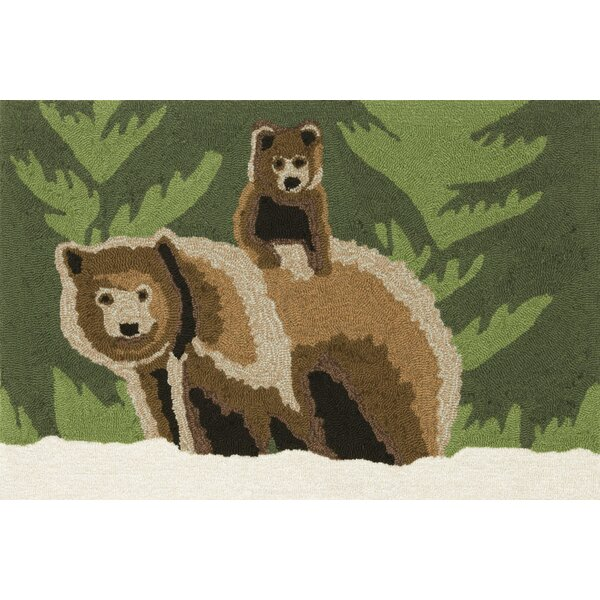 Folsom Bear Family Green Indoor/Outdoor Area Rug by Loon Peak