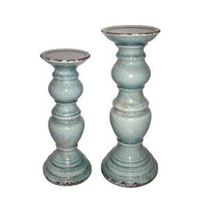 Pillar 2 Piece Wood Candlestick Set
