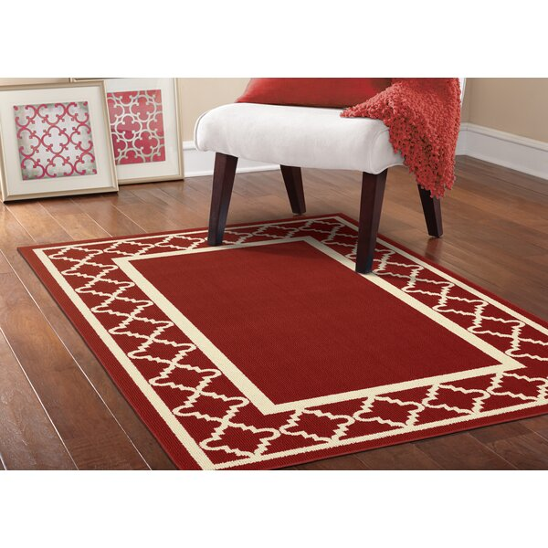 Moroccan Frame Crimson/Ivory Area Rug by Garland Rug