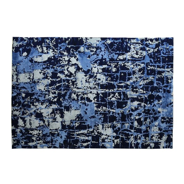 Hundley Cecily Hand-Knotted Wool Dark Blue Area Rug by Exquisite Rugs