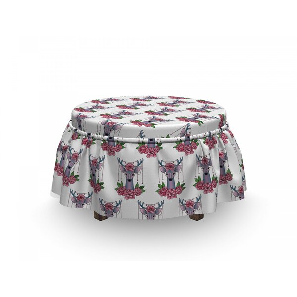 Tattoo Deer Accessories Peonies 2 Piece Box Cushion Ottoman Slipcover Set By East Urban Home