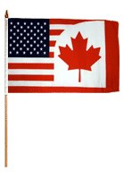 USA Canada Traditional Flag and Flagpole Set (Set of 12) by Flags Importer
