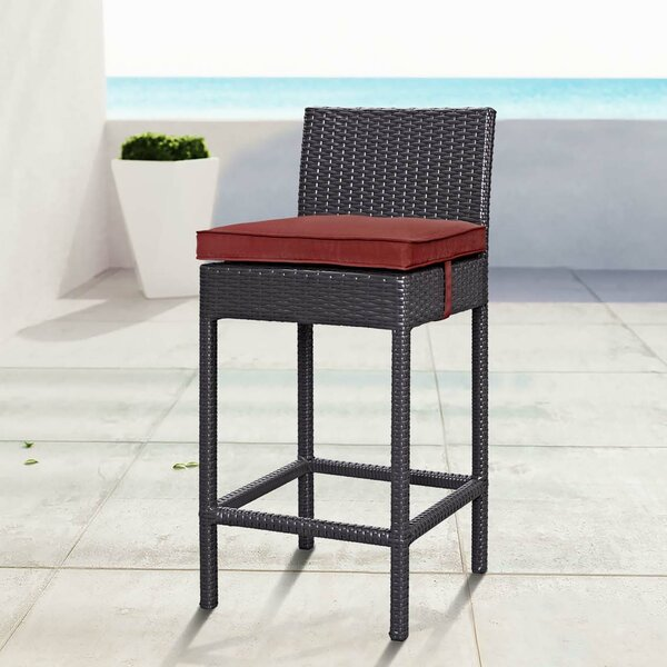 Ryele 27 Patio Bar Stool with Cushion by Latitude Run