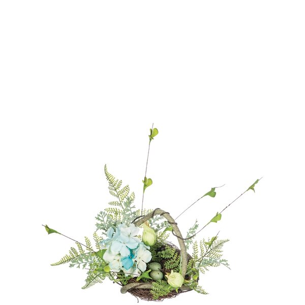 Hydrangea Fern Floral Arrangement in Basket by Ophelia & Co.