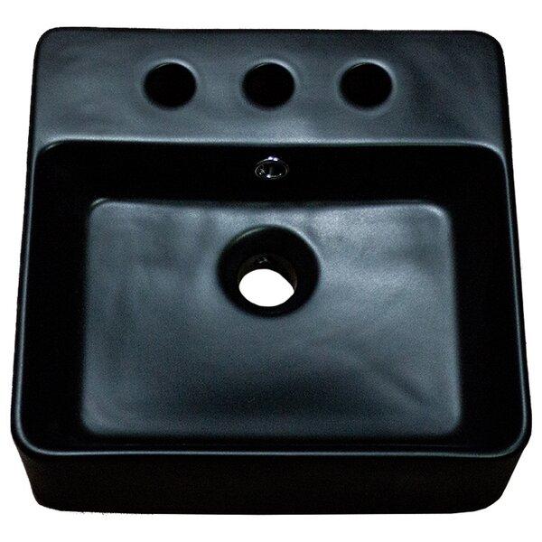Ceramic Square Vessel Batroom Sink with Overflow