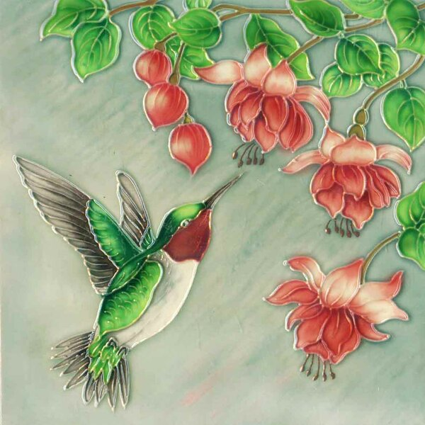 Hummingbird 3 Flowers Tile Wall Decor by Continental Art Center