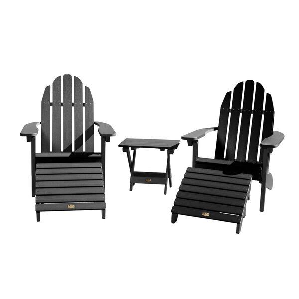 Detrick Plastic Adirondack Chair with Ottoman (Set of 5) by Breakwater Bay