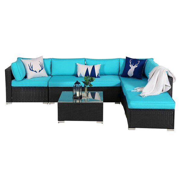 Suheyla Outdoor 7 Piece Rattan Sectional Seating Group with Cushions by Latitude Run