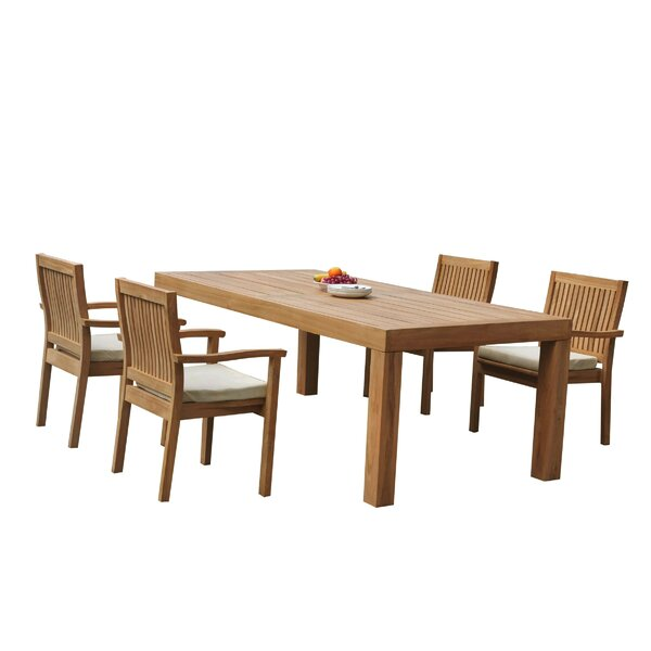 Maspeth 5 Piece Teak Dining Set by Rosecliff Heights