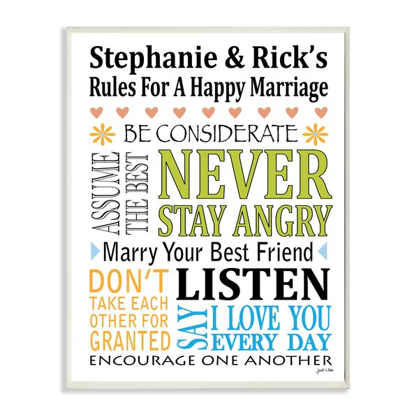 Personalized Marriage Rules Never Stay Angry by Janet White Textual Art Plaque by Stupell Industries