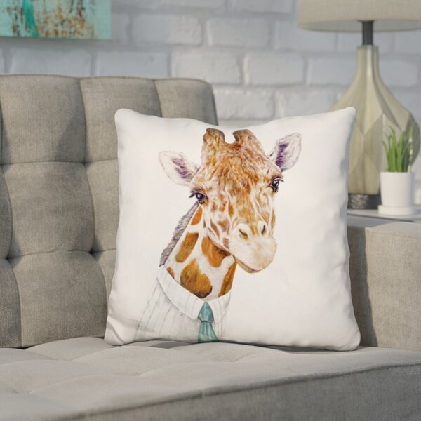 Hertz Giraffe Throw Pillow by Wrought Studio