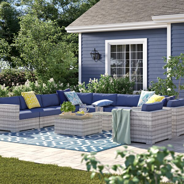 Cloyd 11 Piece Rattan Sunbrella Sectional Seating Group with Cushions by Sol 72 Outdoor