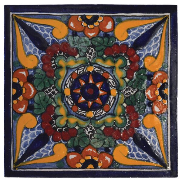 Geraniums 6 X 6 Hand Painted Talavera Tile By Native Trails Inc.