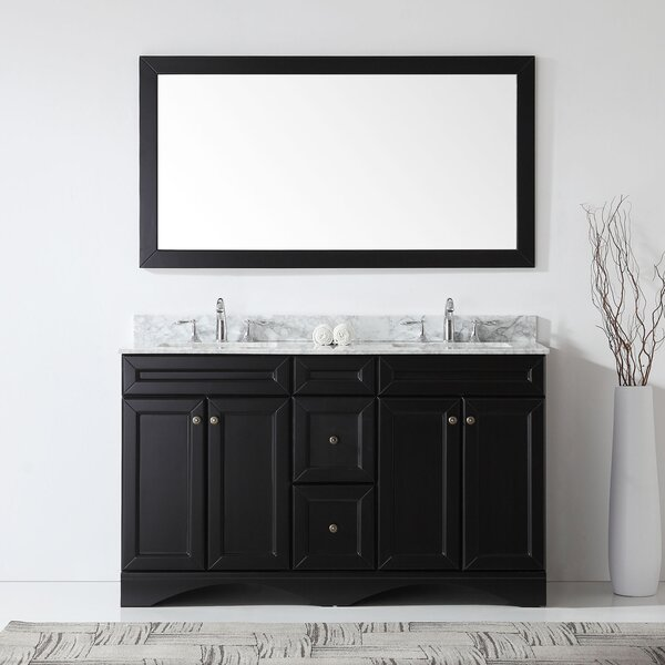 Bever 59.1 Double Bathroom Vanity Set with Black Galaxy Granite and Mirror by Three Posts