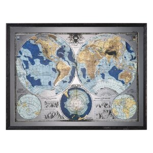Mirrored World Map Framed Graphic Art by Darby Home Co