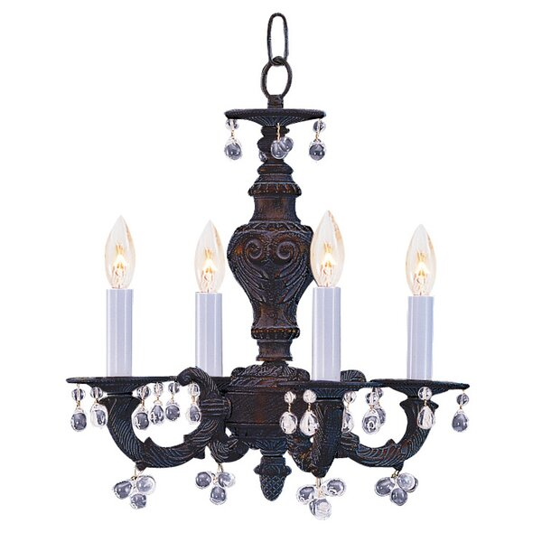 Odessa 4 - Light Candle Style Classic / Traditional Chandelier with Wrought Iron Accents by Viv + Rae Viv + Rae