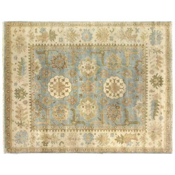 Oushak Hand Woven Wool Beige/Blue Area Rug by Exquisite Rugs