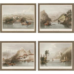 Europe II Giclee by Various 4 Piece Framed Painting Print Set by Paragon