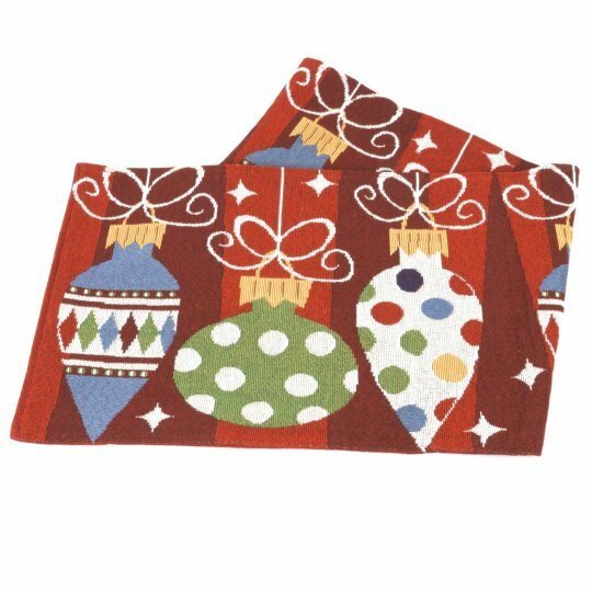 Tapestry Christmas Ornament Table Runner by The Holiday Aisle