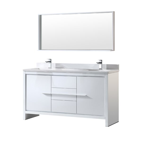 Allier 60 Double Modern Bathroom Vanity Set with Mirror by Fresca