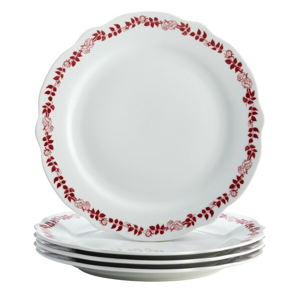Yuletide Garland Printed Fluted Dinner Plate (Set of 4) by BonJour