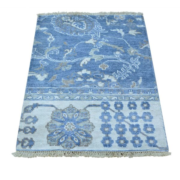 One-of-a-Kind Kating Shiraz Overdyed Vintage Hand-Knotted Blue Area Rug by Canora Grey