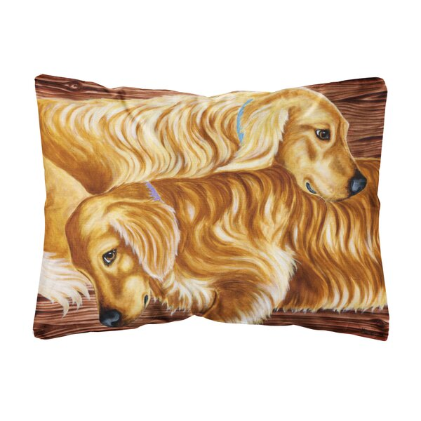 Littlefield Zeus and Chloie the Golden Retrievers Indoor/Outdoor Throw Pillow by Winston Porter