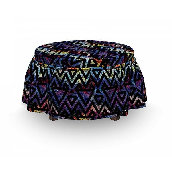 Geometric Galaxy Lines 2 Piece Box Cushion Ottoman Slipcover Set By East Urban Home