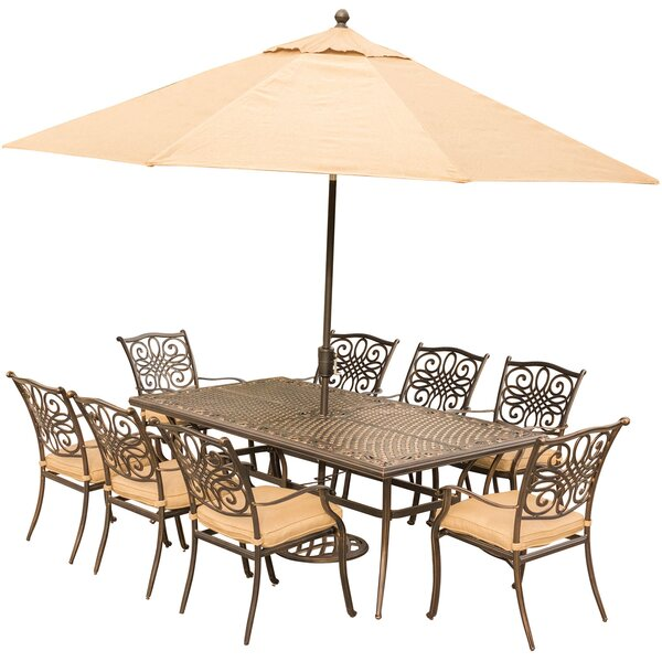 Carleton 9 Piece Aluminum Dining Set with Cushions and Umbrella by Fleur De Lis Living