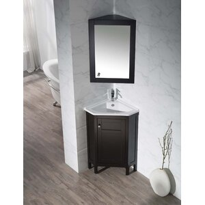 Millard 24.25″ Single Corner Bathroom Vanity Set with Mirror