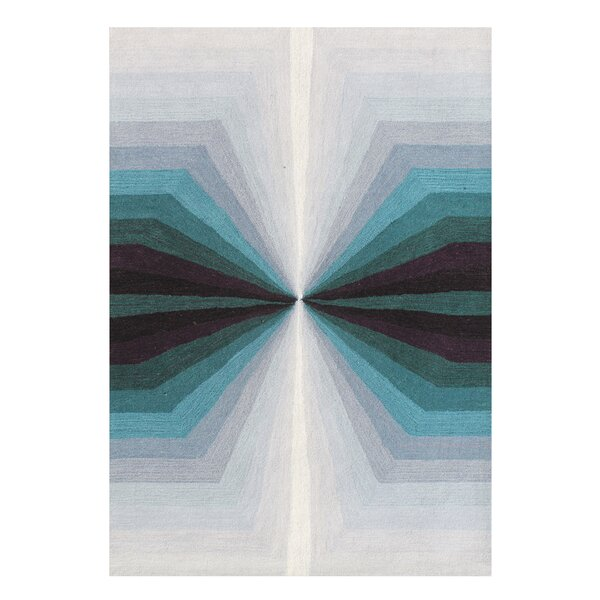 Lane Shades of Illusion Hand-Tufted Wool Aqua/Gray Area Rug by George Oliver