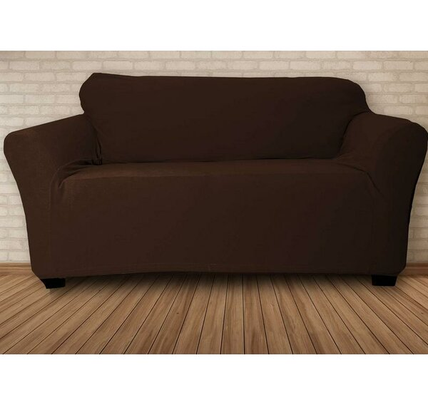 Stretch Velvet T-Cushion Loveseat Slipcover by Symple Stuff