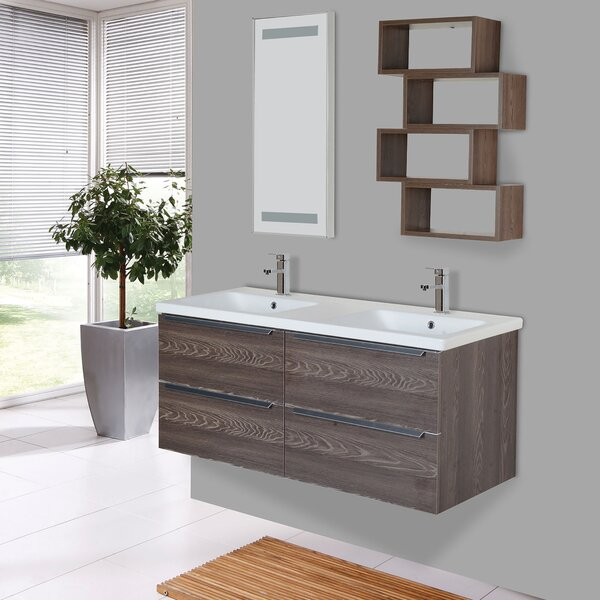 Booher 55 Wall-Mounted Double Bathroom Vanity Set with Mirror