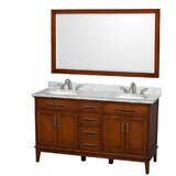 Hatton 60 Double Bathroom Vanity Set with Mirror byWyndham Collection