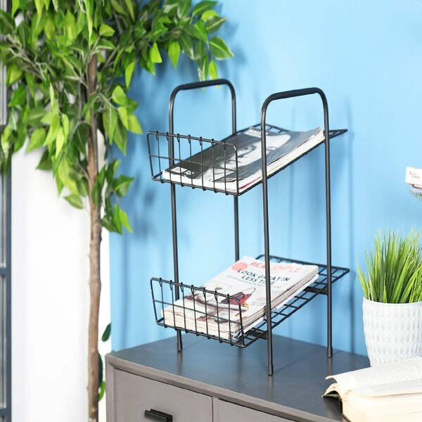 Industrial 2-Tier Solid Magazine Rack by Rebrilliant