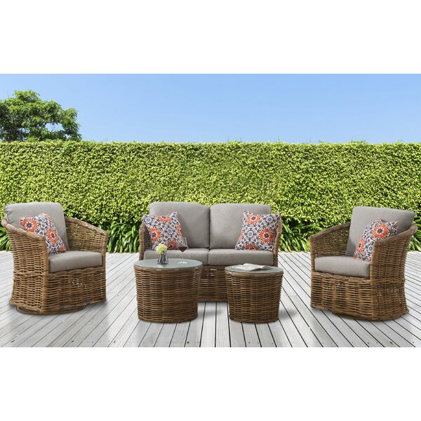 Isola 5 Piece Rattan Sofa Seating Group with Cushions by Bayou Breeze