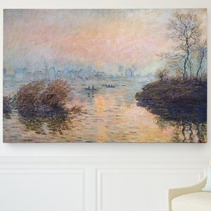 'Sunset on the Seine' by Claude Monet Painting Print on Wrapped Canvas by Wexford Home