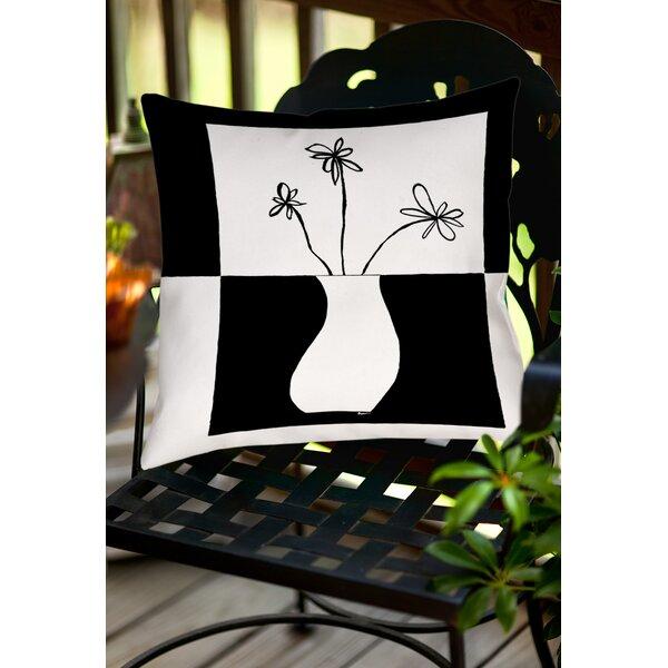 Minimalist Flower in Vase Indoor/Outdoor Throw Pillow by Manual Woodworkers & Weavers