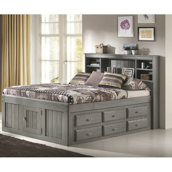 Ercole Full Mates & Captains Bed with 6 Drawers and Bookcase by Birch Lane™ Heritage