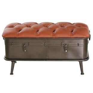 Medina Faux Leather and Metal Storage Bench