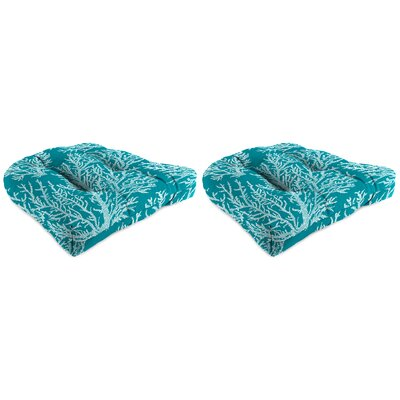 Wicker Indoor/Outdoor Dining Chair Cushion Fabric: Turquoise