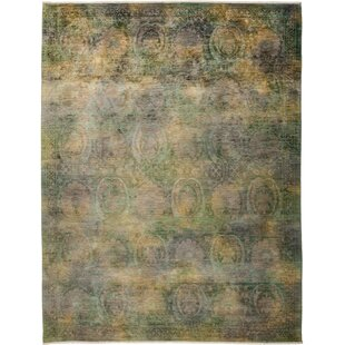 Affordable One-of-a-Kind Albia Hand Knotted Green Area Rug By Isabelline