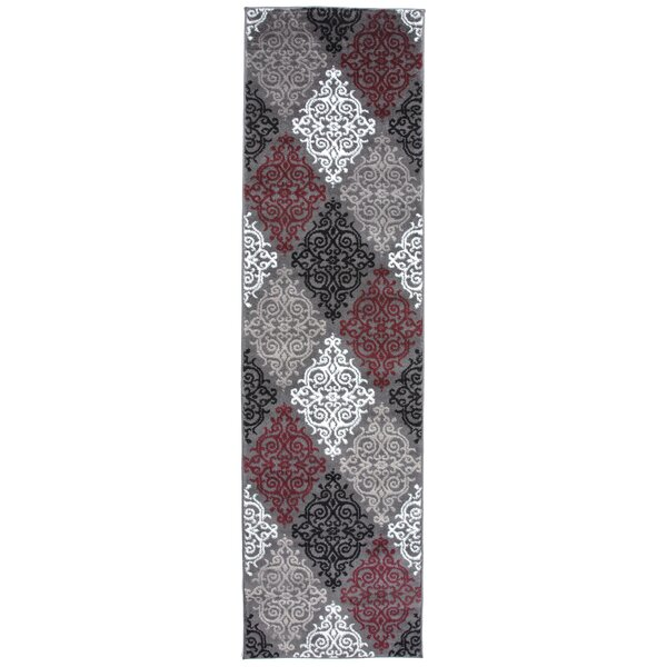 Elliott Bay Transitional Soft Damask Red/Gray Area Rug by Andover Mills