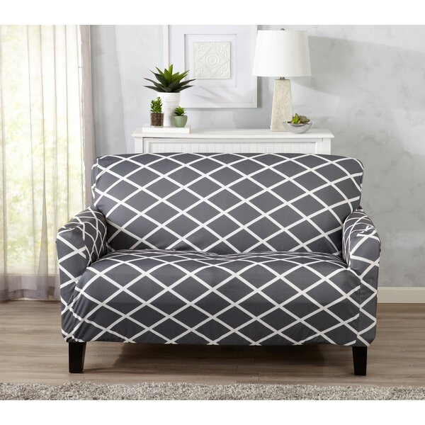 Form Fitting Stretch Diamond Printed T-cushion Loveseat Slipcover by Winston Porter