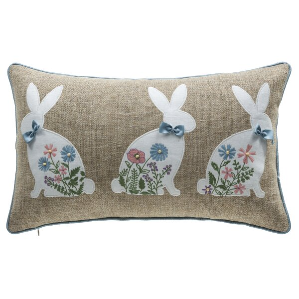 Spring Bunny Lumbar Pillow by 14 Karat Home Inc.